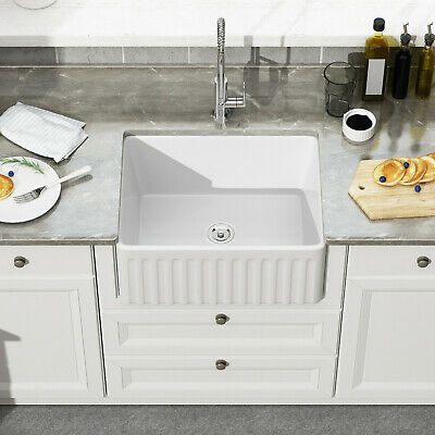 24 inch white porcelain apron farmhouse kitchen sink single bowl ceramic sink ebay