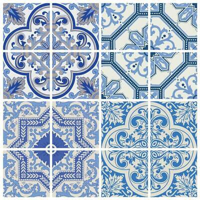 moroccan blue tile decals 4x4 inch coimbra set of 16 diy self adhesive ebay