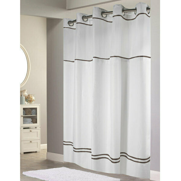 hookless escape shower curtain with snap in liner white with brown stripe 71