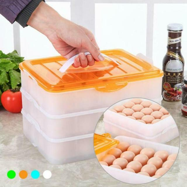 Egg Container 60 Tray Eggs Food Storage Box 3 Layer Shelf Plastic Case Organizer 2