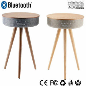 details about new qi wireless charging smart side table bluetooth speaker wooden stand bedside