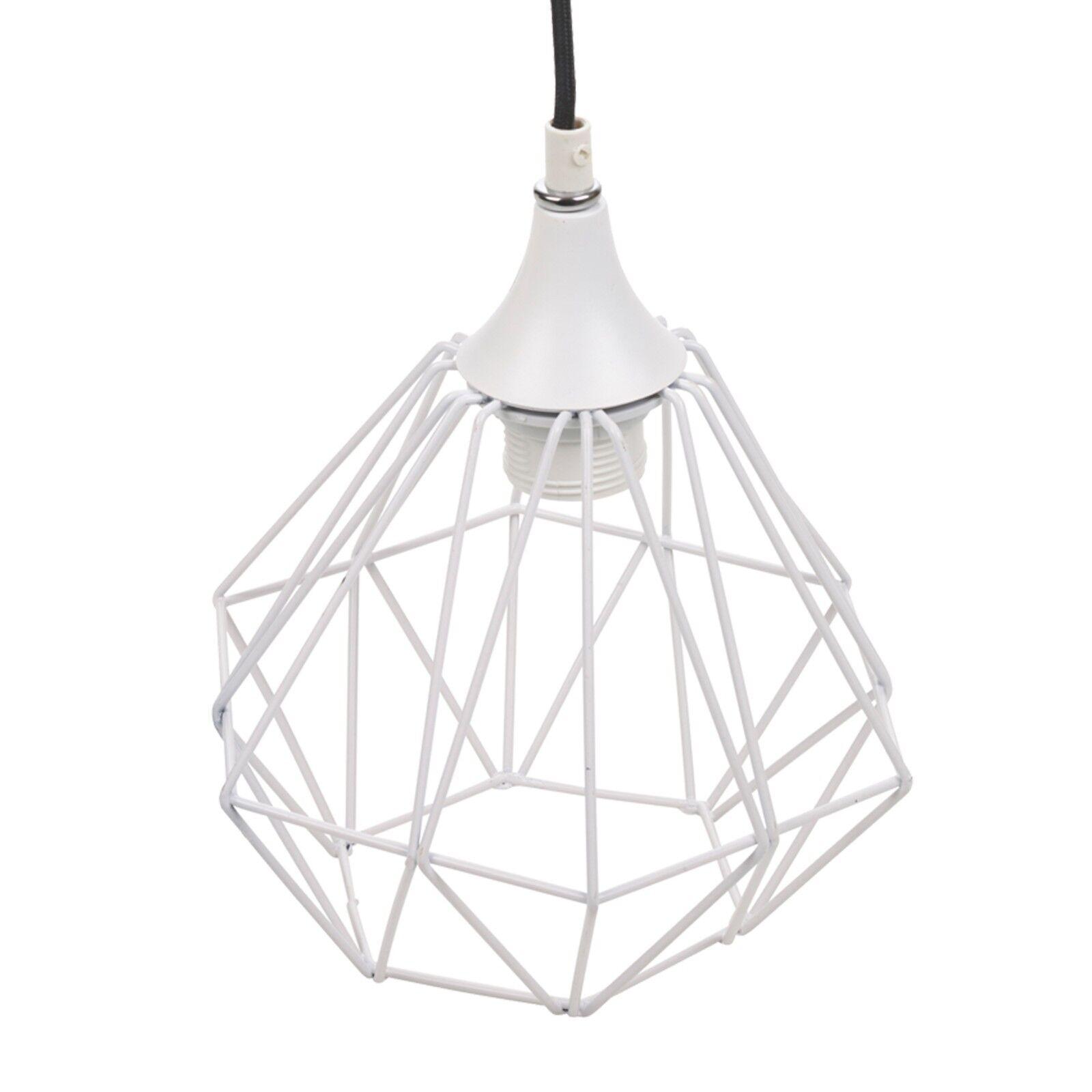 Modern White Geometric Metal Wire Hanging Ceiling Light