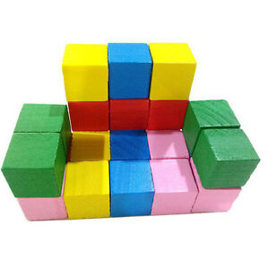 20pcs 2cm Wooden Stacking Up Building Blocks Square Cubes Kids ...