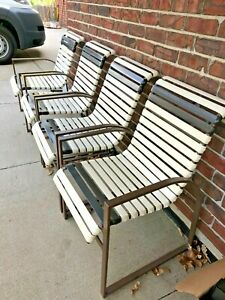 details about 4 vintage woodard patio chairs wrought iron vinyl straps original one owner mcm