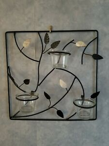 Black Metal wall decor Votive Candle holders | eBay on Metal Candle Holders For Wall id=95401
