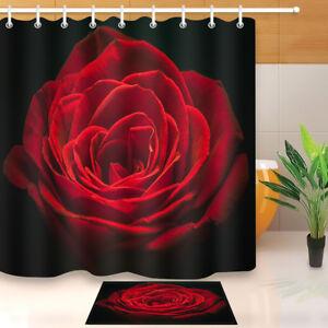 details about waterproof beautiful red rose shower curtain bathroom decor bath mat 12 hooks