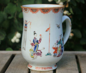 Large Antique Chinese Export Mug Cup 13.5cm Handpainted Figures Famille Rose
