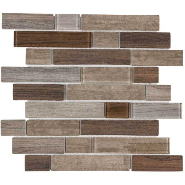 modern linear brown glass mosaic tile backsplash kitchen wall bathroom mto0332