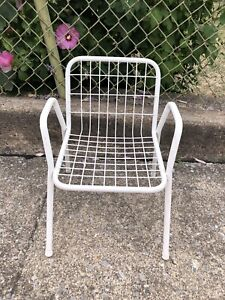 details about vintage kids child size chair white wire metal stacking patio lawn 1980s