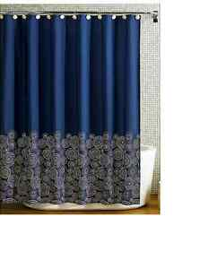 details about royle dark blue fabric shower curtain