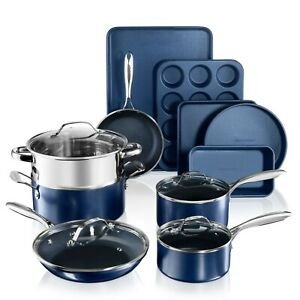 Granitestone Blue Ultra Nonstick 15 Piece Pots and Pans Cookware & Bakeware Set