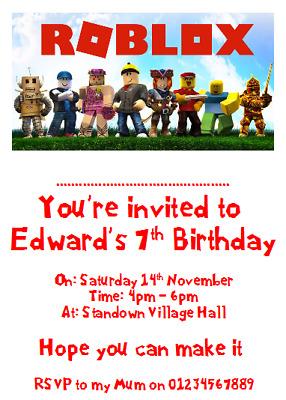 personalised card photo paper birthday party invites invitations roblox ebay