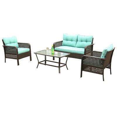 4 pcs rattan sofa wicker chair outdoor patio furniture cushions table set green 791309275946 ebay