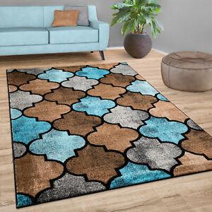 details sur tapis salon motif marocain poils ras moderne en brun beige bleu