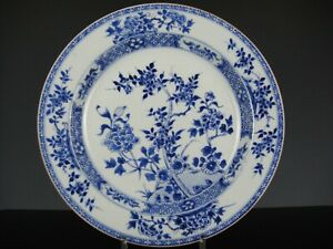 Beautiful Chinese Porcelain B/W Charger With Flowers-33 CM-18th C.Kangxi!