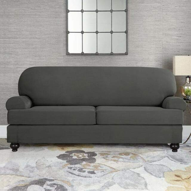 sure fit faux stretch suede slate gray loveseat slipcover 2 cushion t or box