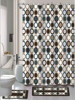 sami brown blue 15 piece bathroom accessory set 2 bath mats shower curtain ebay