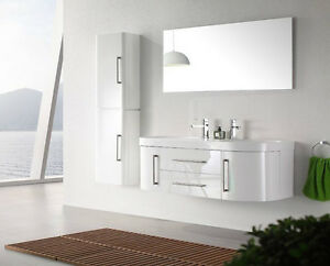 details sur meuble salle de bain double vasque laque blanc avec 1 colonne 120cm mia blanc