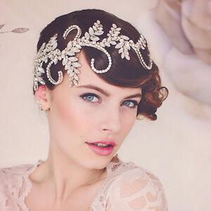 vintage wedding bridal crystal silver hair accessories headband tiara jewelry