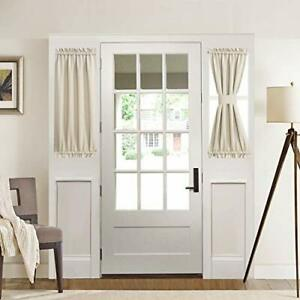 details about blackout rod pocket front door side curtain panel with bonus tieback for privacy