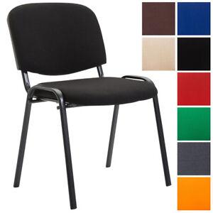 details sur chaise visiteur empilable ken en tissu avec pieds en metal solides confortable