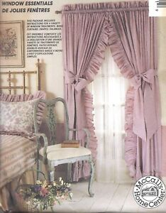 details about mccall s ruffle curtains panels sewing pattern uncut drapes side ties cafe