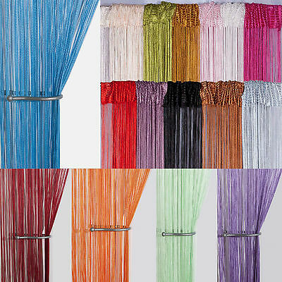 string curtain panels door fly screen room divider voile net curtains ebay