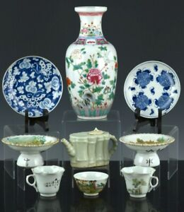 ESTATE LOT CHINESE FAMILLE ROSE BLUE WHITE VASE DISH WINE POT TEAPOT CUPS BOWL