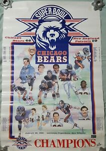 details about chicago bears super bowl poster 1986 full roster season scores 34 x 22
