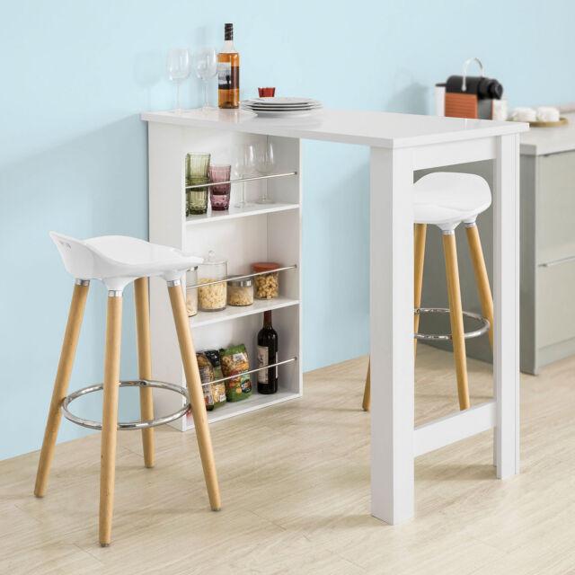 sobuy table haute de bar mange debout cuisine avec rangements blanc fwt17 w fr