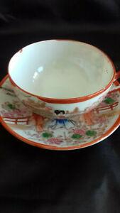 details sur 1 tasse a the avec sa sous tasse porcelaine japon rouge ancienne