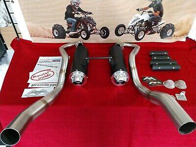 yamaha raptor 700 monster pipe duals big bore black coated shorty 11 ebay