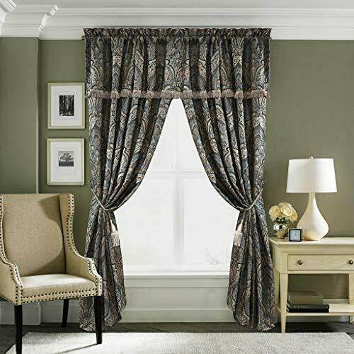 curtains drapes 4pc blue gold silver gray medallion curtains panels drapes 84 in valance tassels home garden