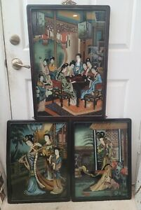 Collection Of 3 Chinese Reverse Glass Painting In Beautiful Wood Frames