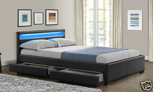 details about double king size bed frame with 4 drawers storage led headboard