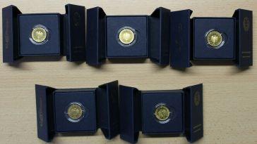KI73) 5x 50 EURO Gold 1/4 oz Unze 2020 Orchesterhorn ADFGJ ECHTHEITSZERTIFIKATE