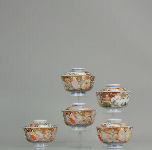 Antique Japanese Edo Period Set Of Lidded Tea Bowls Porcelain Imari 7 Go...