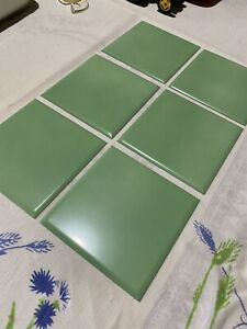 details about 20 vintage mid century modern metal wall tile square medium green