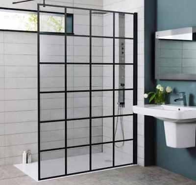 Krittal Black Grid Glass Walk In Shower Enclosure Wet Room Easyclean 8mm Screen Ebay