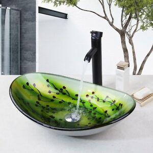 details about us bathroom art glass basin vanity vessel sink bowl w balck faucet mixer system