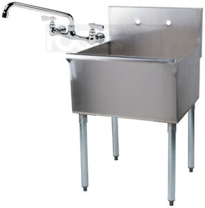details about 24 x 24 x 14 with faucet stainless steel commercial utility sink prep laundry