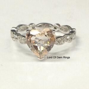 Art Deco Morganite Diamond Engagement Ring,8mm Heart Shaped,14K White Gold