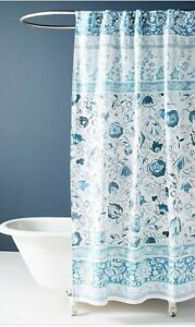 details about 32 nwt anthropologie home bennet floral shower curtain blue white