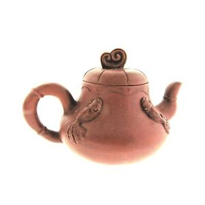 Antique Yixing Clay Teapot with Gold Fish 3.5x5 in 8oz