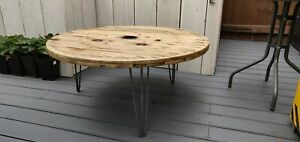 details about extra large industrial wooden cable reel drum round coffee table