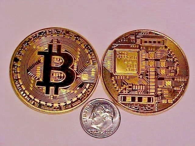 3 - BITCOINS GOLD PLATED CRYPTOCURRENIES COMMERATIVE COIN