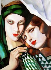 details sur portrait art deco de 2 femmes d apres lempicka tableau peinture hui