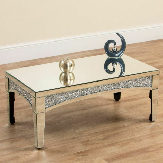 chic furniture mirrored crushed diamond coffee table