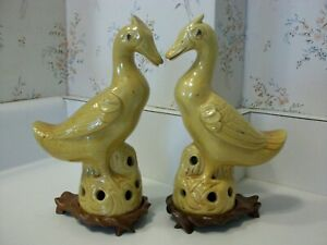 Antique Chinese Porcelain Asian Yellow Phoenix Bird Duck Statue Figure Figurines