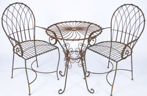 details about wrought iron table and chair set metal patio furniture bistro set
